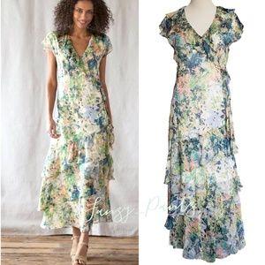 Sundance silk dress ruffle tier Garden Floral maxi